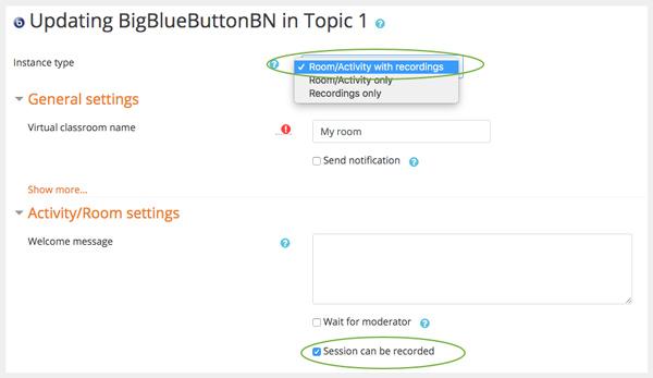 Povolte nahrávání BigBlueButton