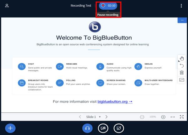 Pozastavte nahrávání BigBlueButton