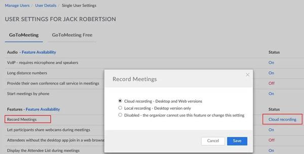 GoToMeeting سجل الاجتماعات