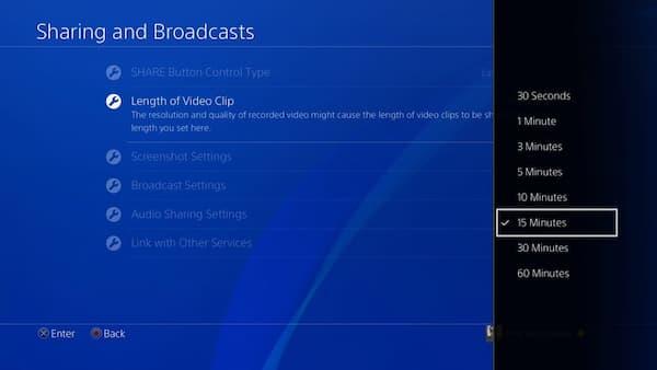 Ustaw długość nagrywanej rozgrywki PS4