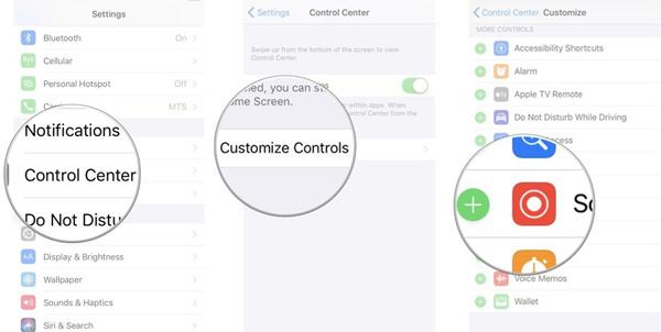 إضافة خاصية تسجيل الشاشة iOS