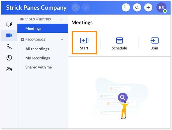 Spusťte nahrávání RingCentral Meetings
