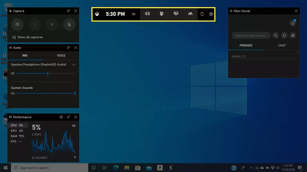 Úvod do herního panelu Windows 10
