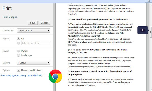 Convert Webpage to PDF in Chrome