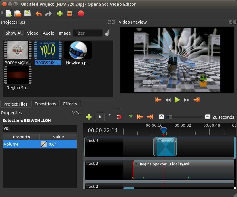 Редактор видео в OpenShot