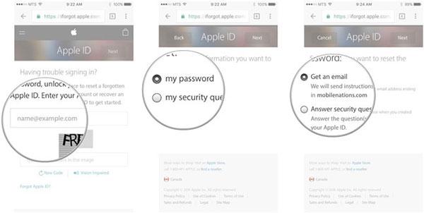 Recover Apple ID şifresini e-posta ile unuttum