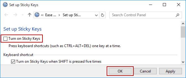 Windows 7でスティッキーキーを無効にする