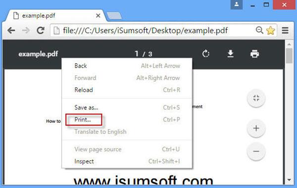 Skriver ut via Chrome
