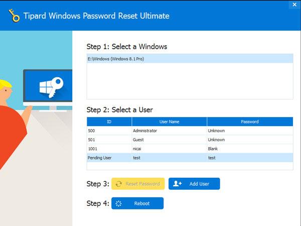 Tipard Windowsパスコードのリセット