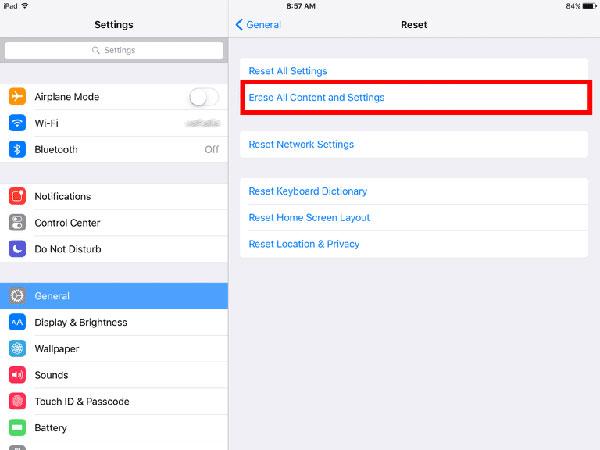 Réinitialiser l'iPad via les paramètres