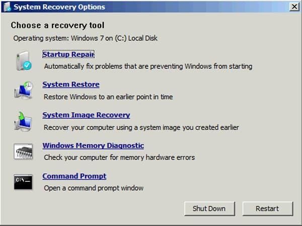 Options de récupération du système