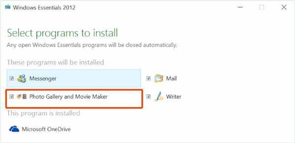 حدد Windows Movie Maker