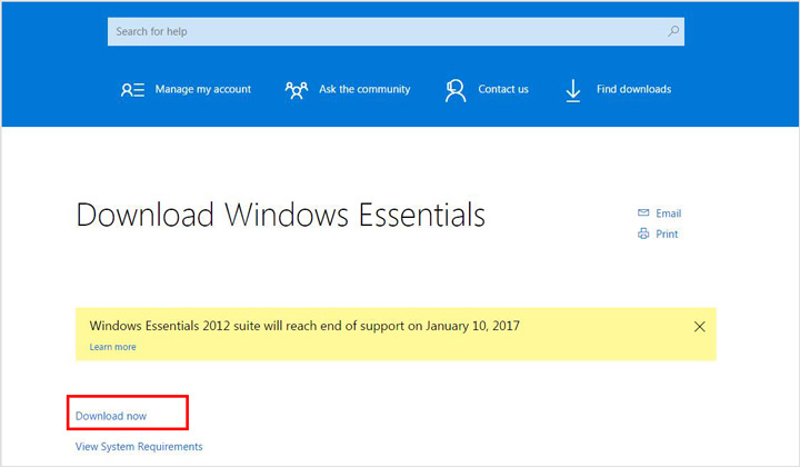 قم بتنزيل Windows Essentials