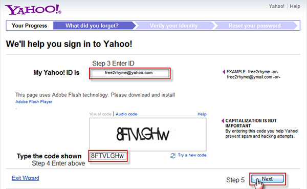 Recupera la password di Yahoo con domande di sicurezza
