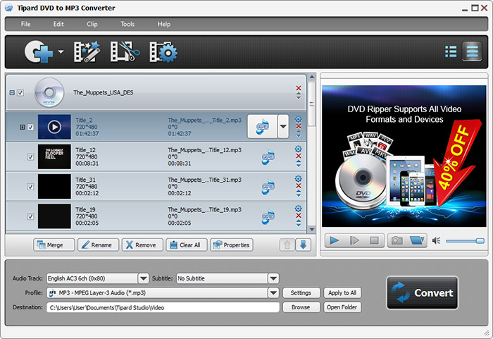 Free dvd to mp3 converter convert dvd to mp3 music tipard