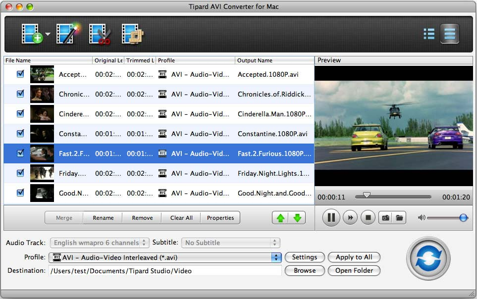 Tipard AVI Converter for Mac Screen shot