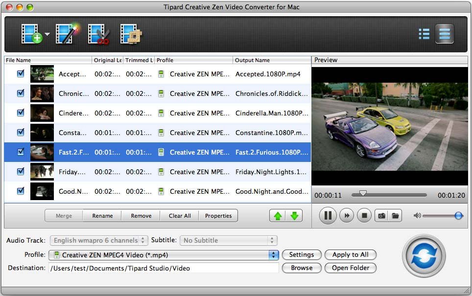 How to Convert Video to AVI/MP4//MP3/WMV/3GP for Mac Users Creative-zen-video-converter-for-mac