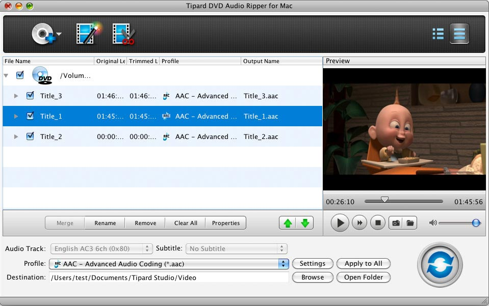 Tipard DVD Audio Ripper for Mac Screen shot