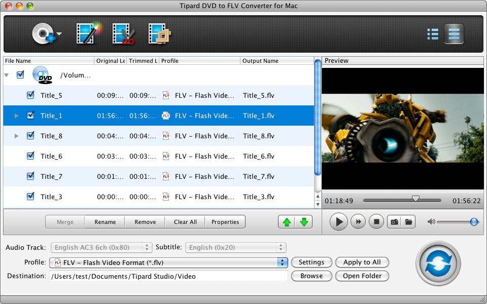 Tipard DVD to FLV Converter for Mac Screen shot