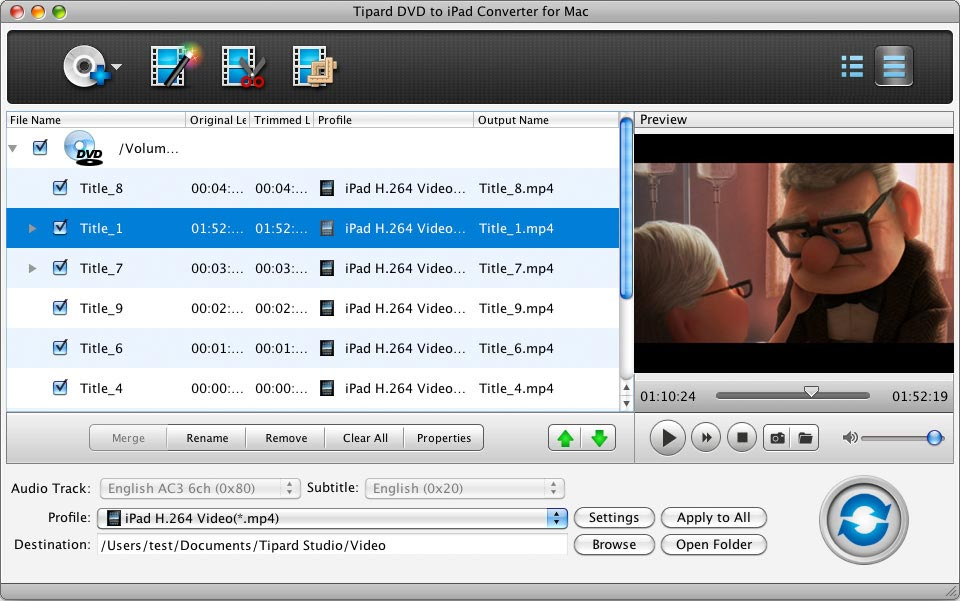 Tipard DVD to iPad Converter for Mac full screenshot