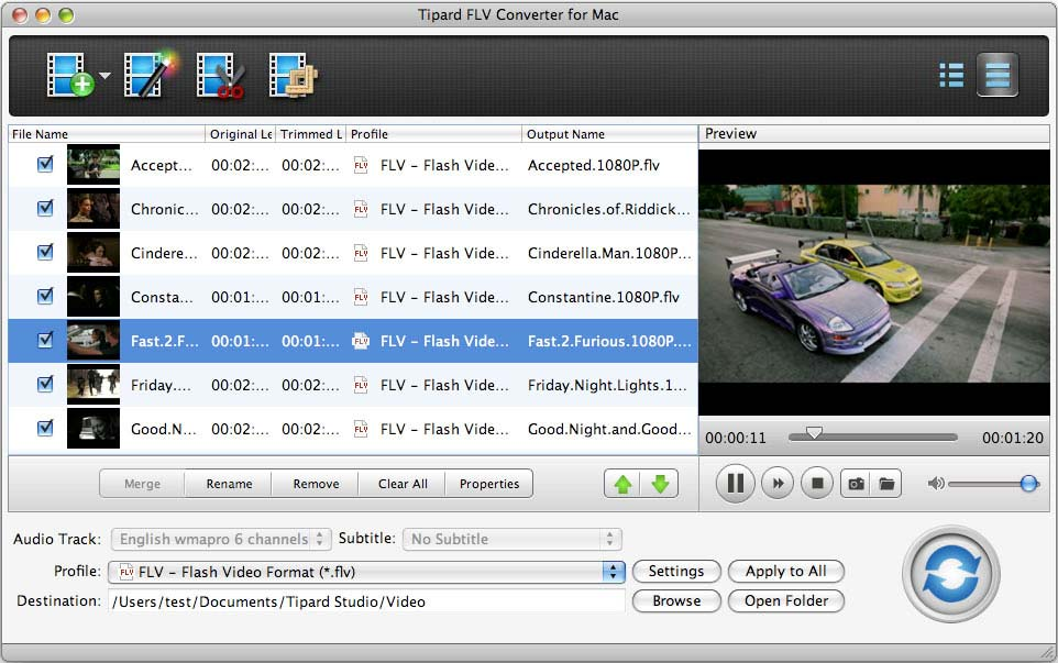 Tipard FLV Converter for Mac Screen shot