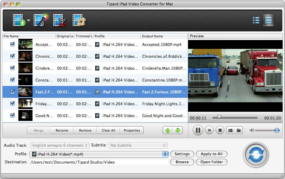 Tipard iPad Video Converter for Mac Screen shot