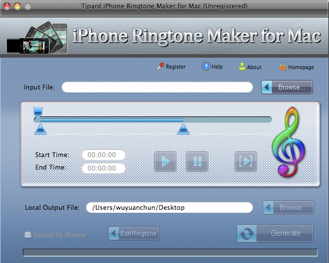 Tipard iPhone Ringtone Maker for Mac screenshot