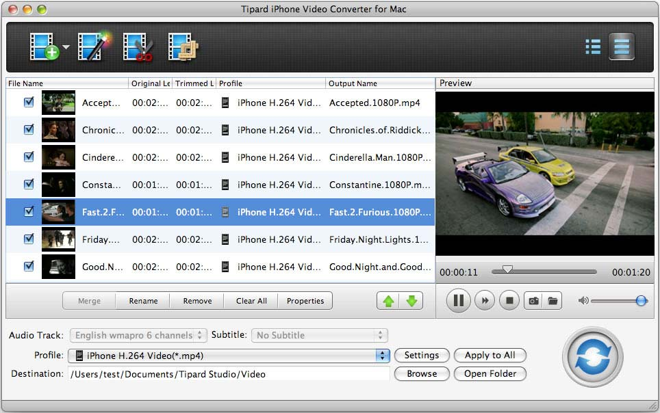 Tipard iPhone Video Converter for Mac Screen shot