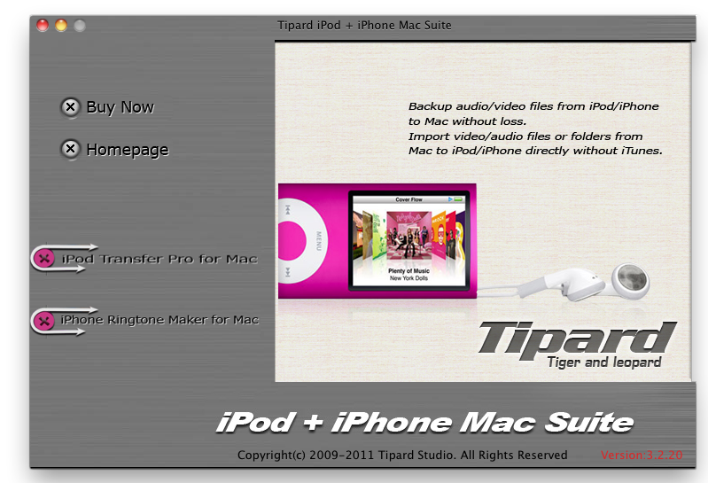 Tipard iPod + iPhone Mac Suite screenshot