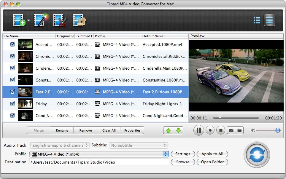 Tipard MP4 Video Converter for Mac full screenshot