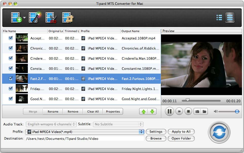 Tipard MTS Converter for Mac Screen shot