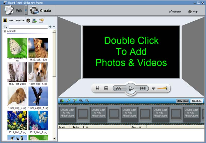 Create slideshow with photos from your album, create slideshow from any video.