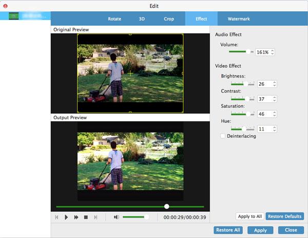 Ajuster l'effet vidéo