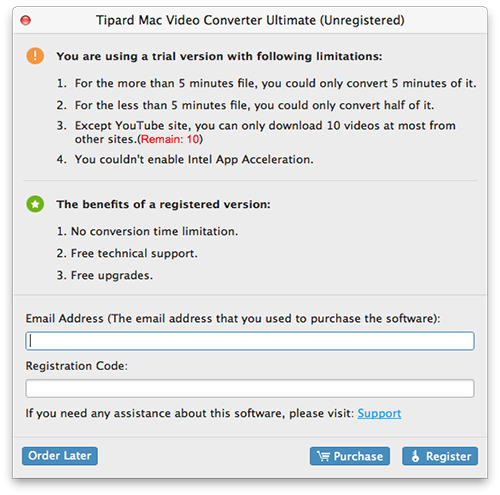 Registrer YouTube til MP4 Downloader for Mac