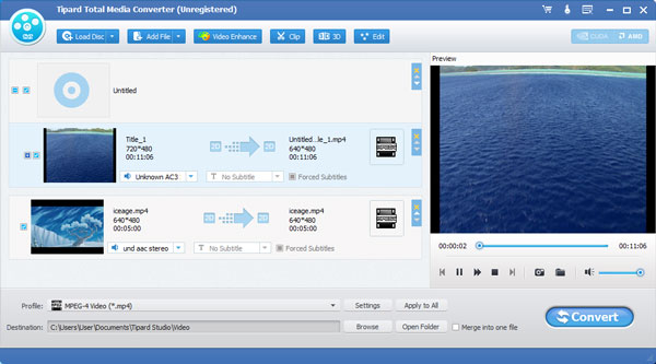 Convert DVD disc and any video to MP4 MOV M4V MKV AVI WMV TS and more. easy Screen Shot