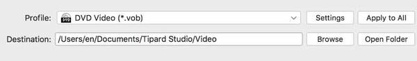 Scegli il formato di output