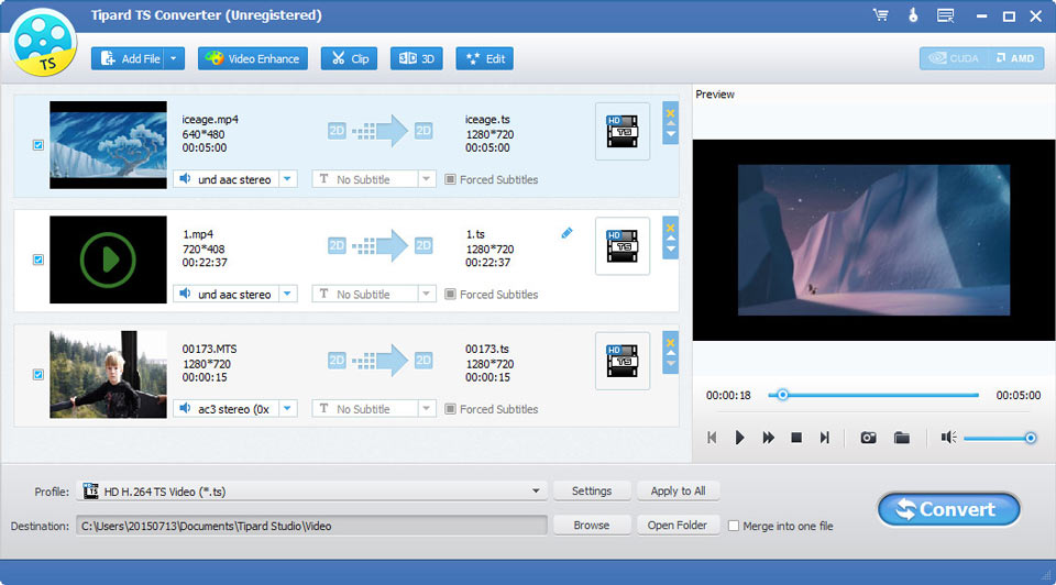 Convert TS to any video format like MP4 MKV AVI WMV MOV M4V and so on. versatile Screen Shot