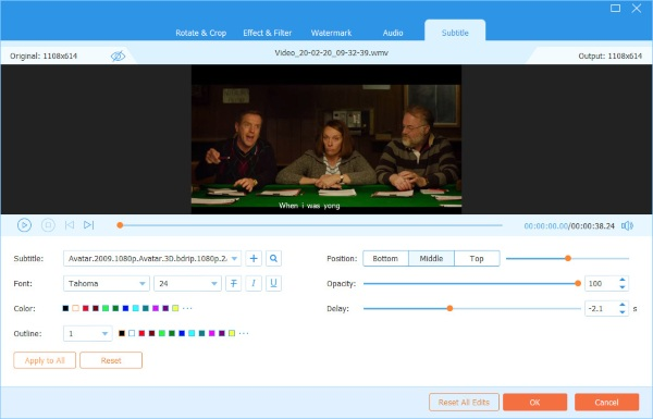 Video Converter Ultimi sottotitoli di modifica