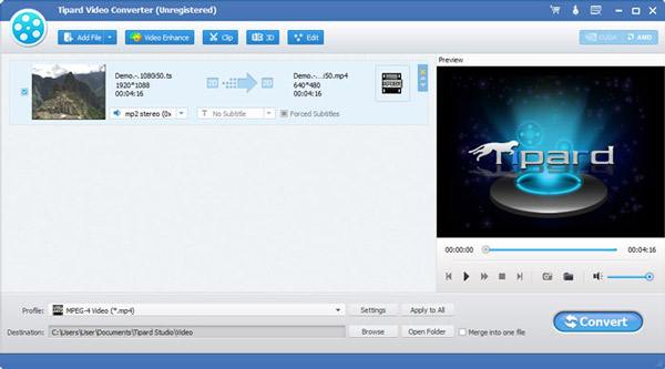 Tipard Video Converter Screenshot