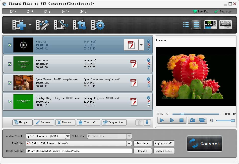 Click to view Tipard Video to SWF Converter screenshots