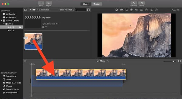 iMovie agrega marca de agua al video