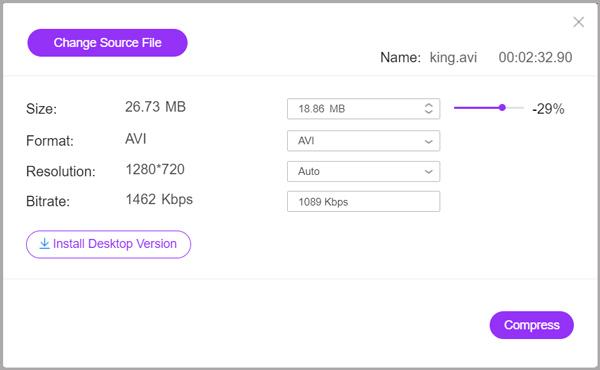 تقليل حجم ملف AVI على الإنترنت مجانًا