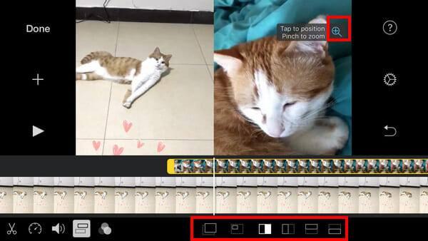 Video aplikace iMovie vedle sebe