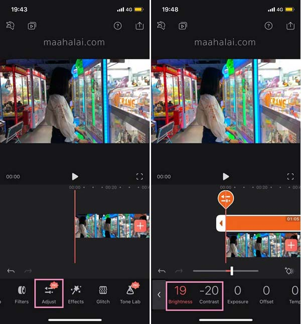 Ajustar brilho Videoleap