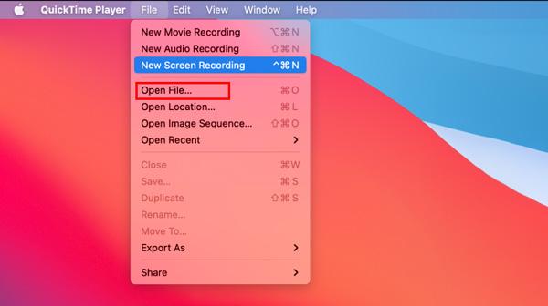 Quicktime Otevřít soubor