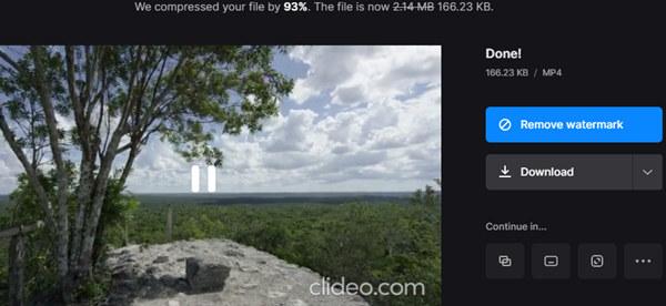 صفحة نتيجة ضاغط فيديو Clideo