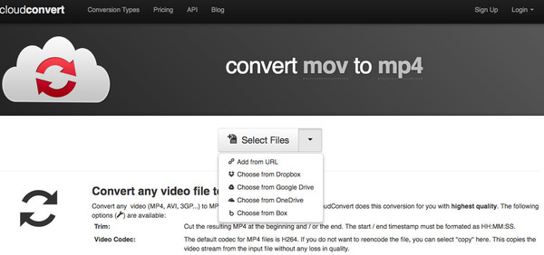MOV à MP4 OnlineConvert