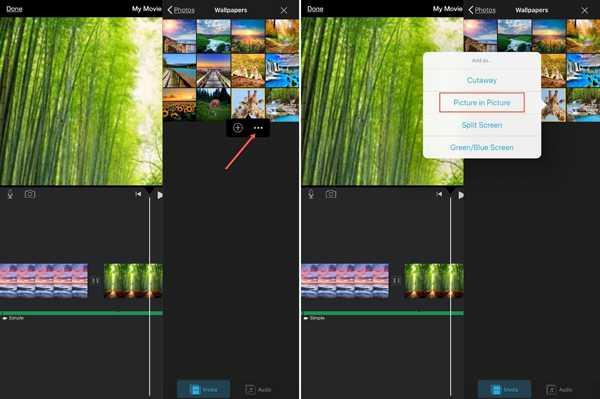 iMovie يخلق صورة في صورة iPad