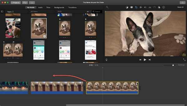 iMovie قم بإنشاء صورة في صورة mac