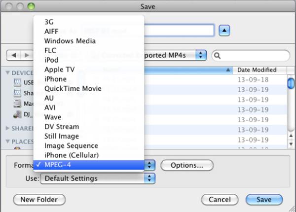 MPEG-4'ü seçin